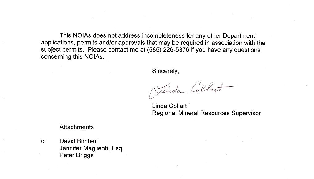 Nysdec Letter To Tioga Energy Partners Re  Notice Of
